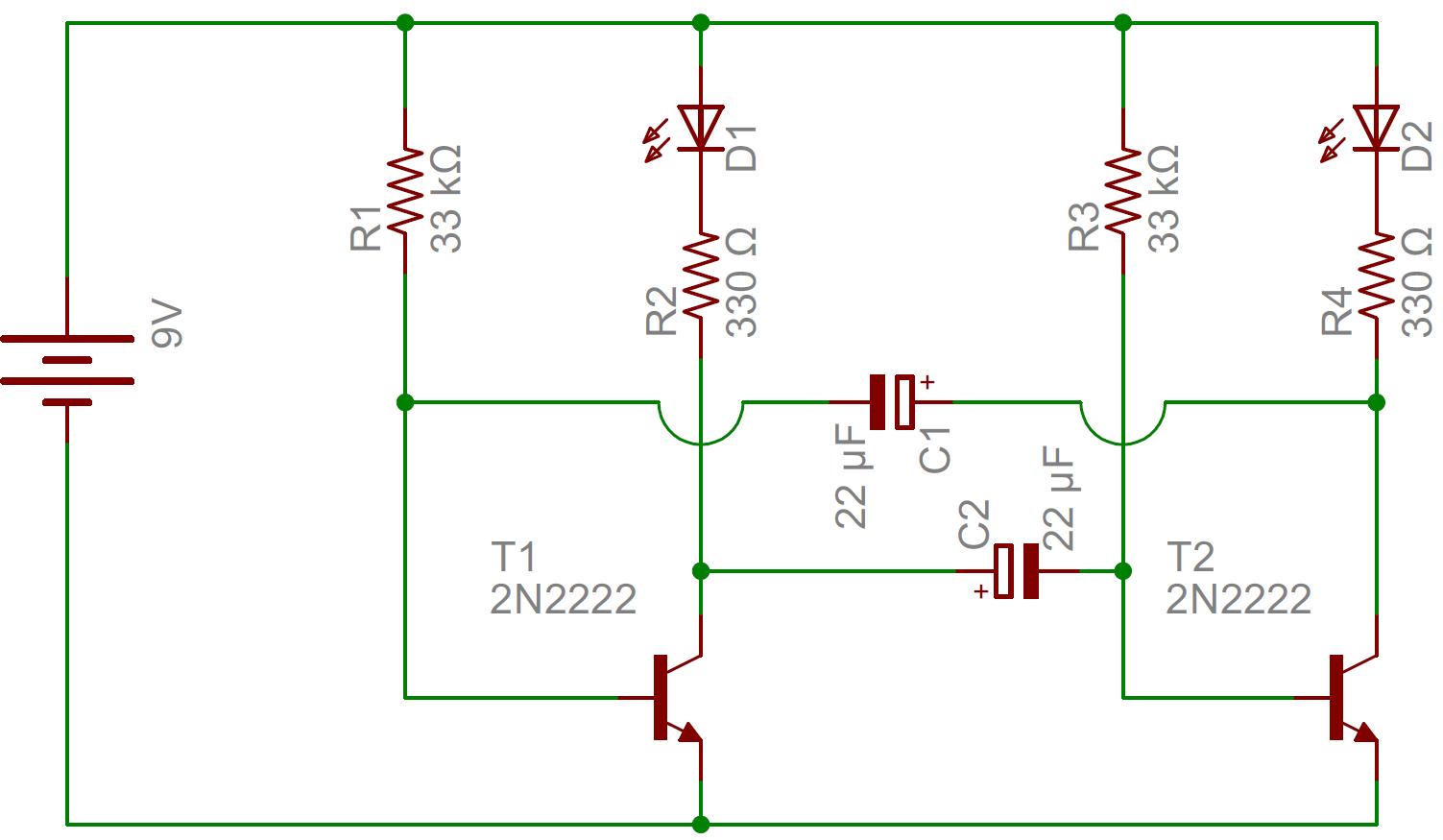 Astable Multivibrator Simple Flashing Led Using Transistors Transistorised Circuit Wave